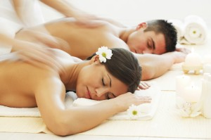 Young couple is resting at the spa centre.